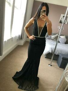 Quiz-Black-Lace-Sequin-Dress-Ball-Gown-Long-Fishtail-Maxi-Evening-Prom-UK