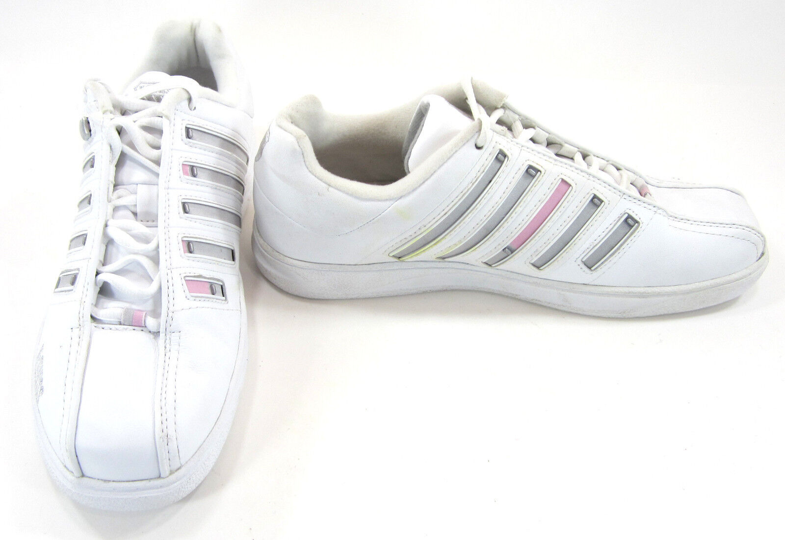 K-Swiss Schuhes Classic Striped Low WEISS/Pink/Gray Sneakers Damenschuhe 10
