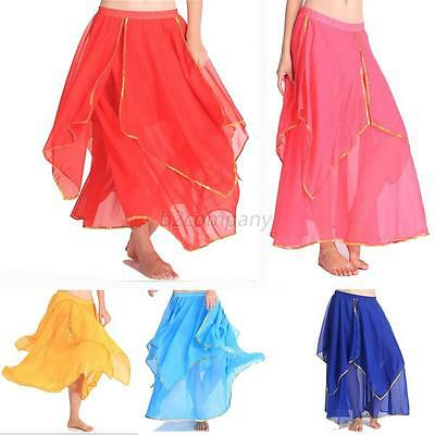 7 color Chiffon 2 layers Long Skirt Golden Edge Chiffon Belly Dance Costume B73