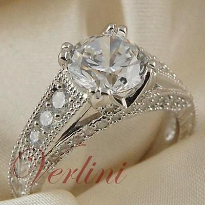 3Ct Round Brilliant Cut High Quality CZ 925 Sterling Silver Women Ring Size 5-10