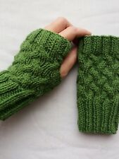 LADIES hand knitted FINGERLESS GLOVES wrist warmers OLIVE GREEN one size NEW