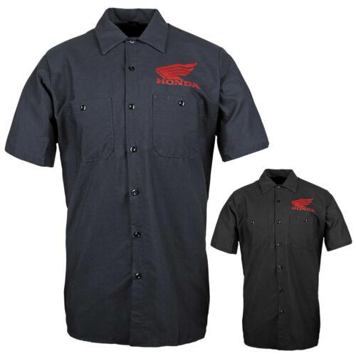 Honda Big Wing Button Up Mens Motocross Motorcycle Garage Shirts