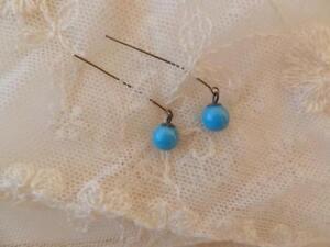 Vintage-8-mm-Jumeau-Blue-Earrings-Drops-for-Jumeau-Antique-Doll-Jewelry