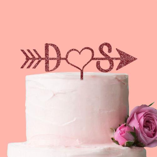 Personalised Initials Heart Arrow Cake Topper Wedding Anniversary Decoration Fun