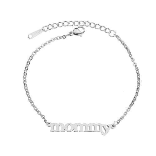 Simple maman lettre Bracelet en Acier inoxydable Mère/'s Jour Cadeau famille Bijoux