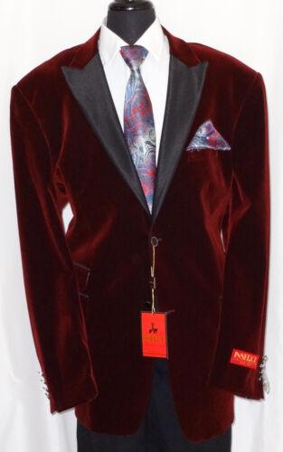 Mens Fancy Gorgeous Burgundy Velvet Jacket Black Lapel Formal Look 525-31