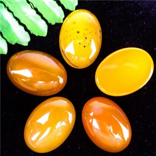5Pcs Multiple Choice Mixed Gemstone Agate Oval Cab Cabochon 25x18x6mm QA11