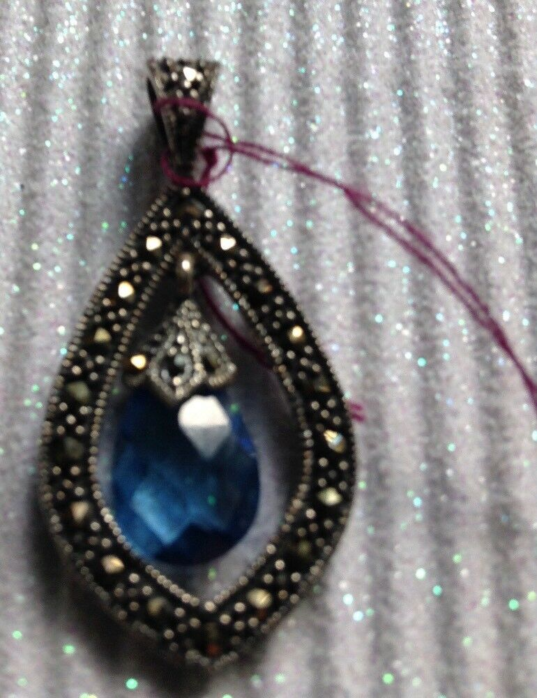 Marcasite Pendant with bluee Faceted Crystal
