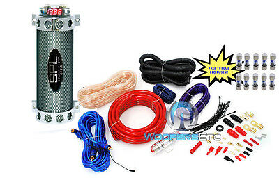 3 pkg 10 FUSES & 2 FARAD AMP CAPACITOR & 4 GAUGE 2500W AMPLIFIER WIRE CABLE KIT