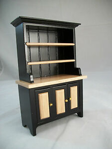 Details about Black & Oak Kitchen Hutch - T5975 miniature dollhouse  furniture wood 1/12 scale