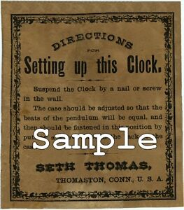 2 EXACT COPIES OF SETH THOMAS ROUND SHIPS BELL CLOCK LABELS NEW!!!
