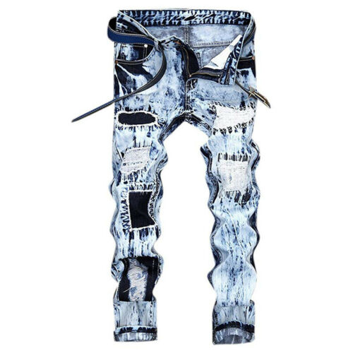 Mens Skinny Jeans Distressed Ripped Frayed Denim Pants Stylish Designer Trousers