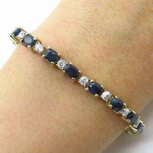 925-Sterling-Silver-Gold-Plated-Real-Sapphire-Gem-amp-C-Z-Tennis-Link-Bracelet-7-034
