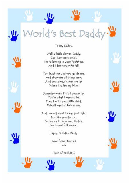 personalised birthday poem keepsake for world s best daddy