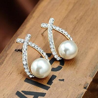 1 Pair Women Crystal Rhinestone Ear Cute Imitation Pearl Stud Earrings Jewelry