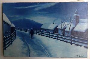 Tableau impressionniste Paysage animé sous la neige de Nuit Huile toile signée