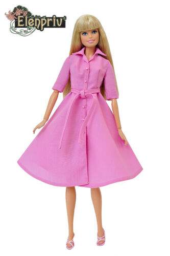 ELENPRIV FA008 pink dress-shirt for Barbie Pivotal Made-to-Move FR2 dolls