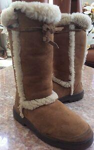 ugg women s nightfall 5359 tan brown leather tall boots w wood rh ebay com