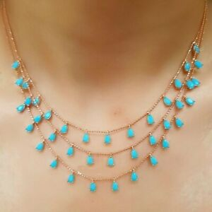 925-STERLING-SILVER-HANDMADE-JEWELRY-TURQUOISE-TRIPLE-NECKLACE