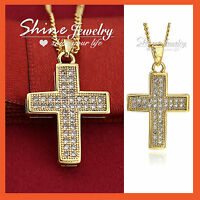 18k Gold Gf Cross Crucifix Petite Lab Diamond Mens Ladies Pendant Necklace Gift
