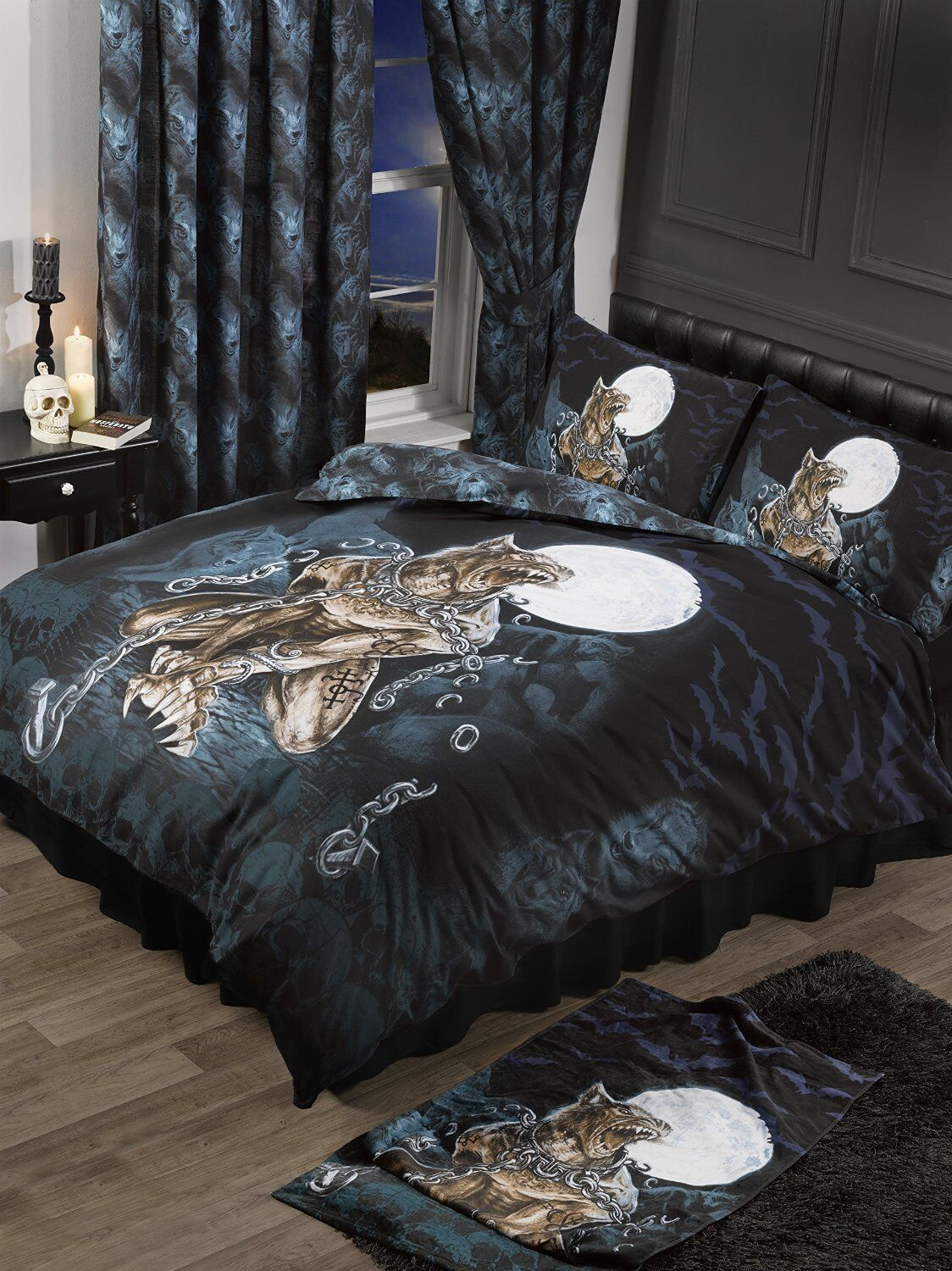 GOTHIC CHAINED WEREWOLF ALCHEMY DUVET SET SINGLE DOUBLE KING SUPERKING CURTAINS