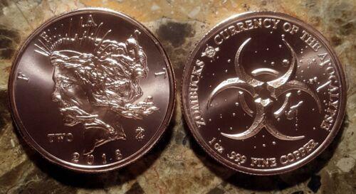 """Zombucks /""""Feast/"""" 1oz Pure Copper Bullion Round!!"""
