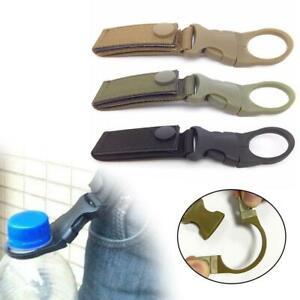 Tactical MOLLE Webbing Strap Clip Water Bottle Holder Waist Belt Hook Silver