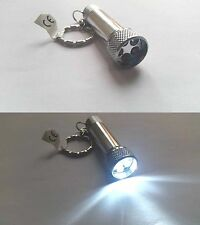 Silver Torch Pen Key Ring With 5 Ultra Bright LED Lights BNIB