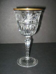 Ebeling-Reuss-Crystal-8-Emperor-Water-Goblets-7-3-8-034-Gold-Trim-Etched-Cut-MINT
