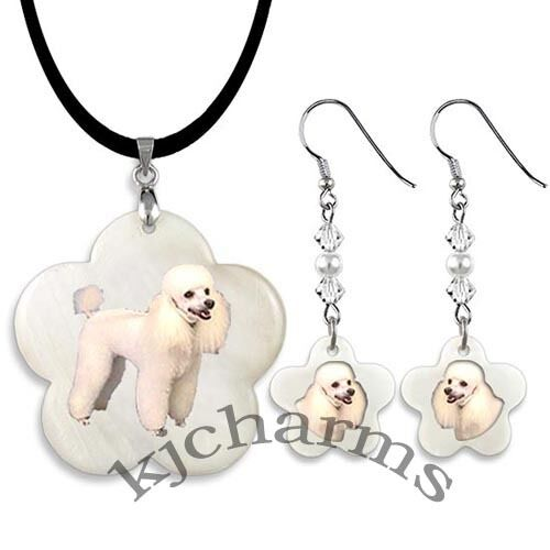 Poodle Dog Mother Of Pearl Flower Pendant Necklace /& Earrings Jewelry Set M291