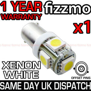 5-SMD-LED-433-434-BAX9S-H6W-HID-XENON-WHITE-SIDE-LIGHT-BULB-OFFSET-PINS-CAP