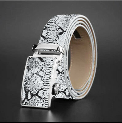 WOMENS DESIGNER LEATHER AUTOMATIC BELT FOR LADIES BELTS SNAKE SKIN EFFECT WOMEN