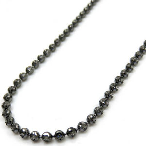 22-034-2-5mm-9-40-grams-Mens-ladies-14K-Black-Gold-Dog-Tag-Ball-Bead-Chain-Necklace