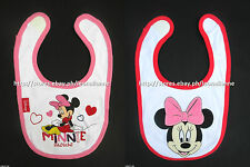 50% OFF! 2 PCS. DISNEY MINNIE MOUSE DELUXE BABY FEEDER BIBS #12 BNEW US$7.49