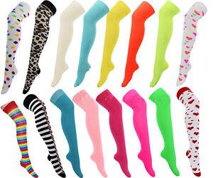 New-Ladies-Bright-Neon-Coloured-Over-Knee-High-Rainbow-Socks-Fancy-Cotton-Dress