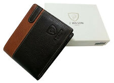Designer J Wilson Genuine Mens Real Quality Leather Wallet Note Coin Purse Box
