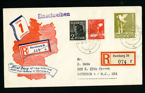 Germany-First-Day-Post-War-Registered-Stamp-Cover