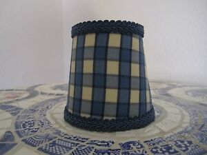 Pierre Deux Lamp Shade Blue Cream Check French Country