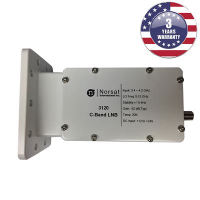 C-Band DRO LNB 3.4-4.2 GHz ±500 kHz Stability F Type 75 Ohm New Norsat 8515