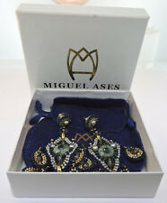 MIGUEL ASES COSTUME CHANDELIER PEARL PRASOLITE  EARRINGS