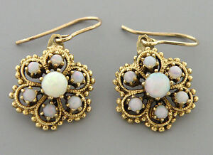 Image Is Loading Antique Vintage 14k Yellow Gold Opal Earrings Dangle