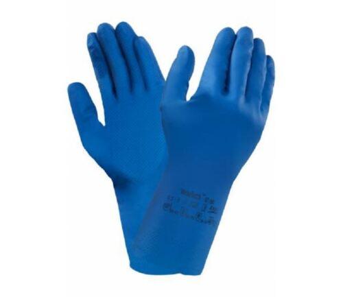 6 12 o 24 pares Ansell versatouch 87-195 Azul Guantes de goma de látex para el hogar
