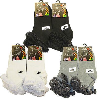 FäHig 6 Pairs Kids Girls Cotton Rich Lace Top ,white Grey Black Ankle School Socks Dauerhafte Modellierung