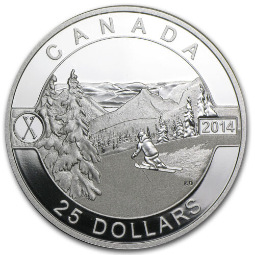 2014 Canada 1 oz Silver $25 Scenic Skiing in Canada Proof SKU #81673