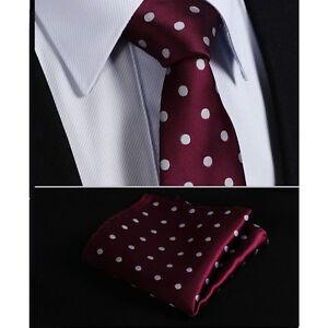 sito affidabile cerca l'originale miglior valore Dettagli su Lusso Rosso Bordeaux Granata Uomo Argento a Pois Cravatta  Fazzoletto Gratis Seta