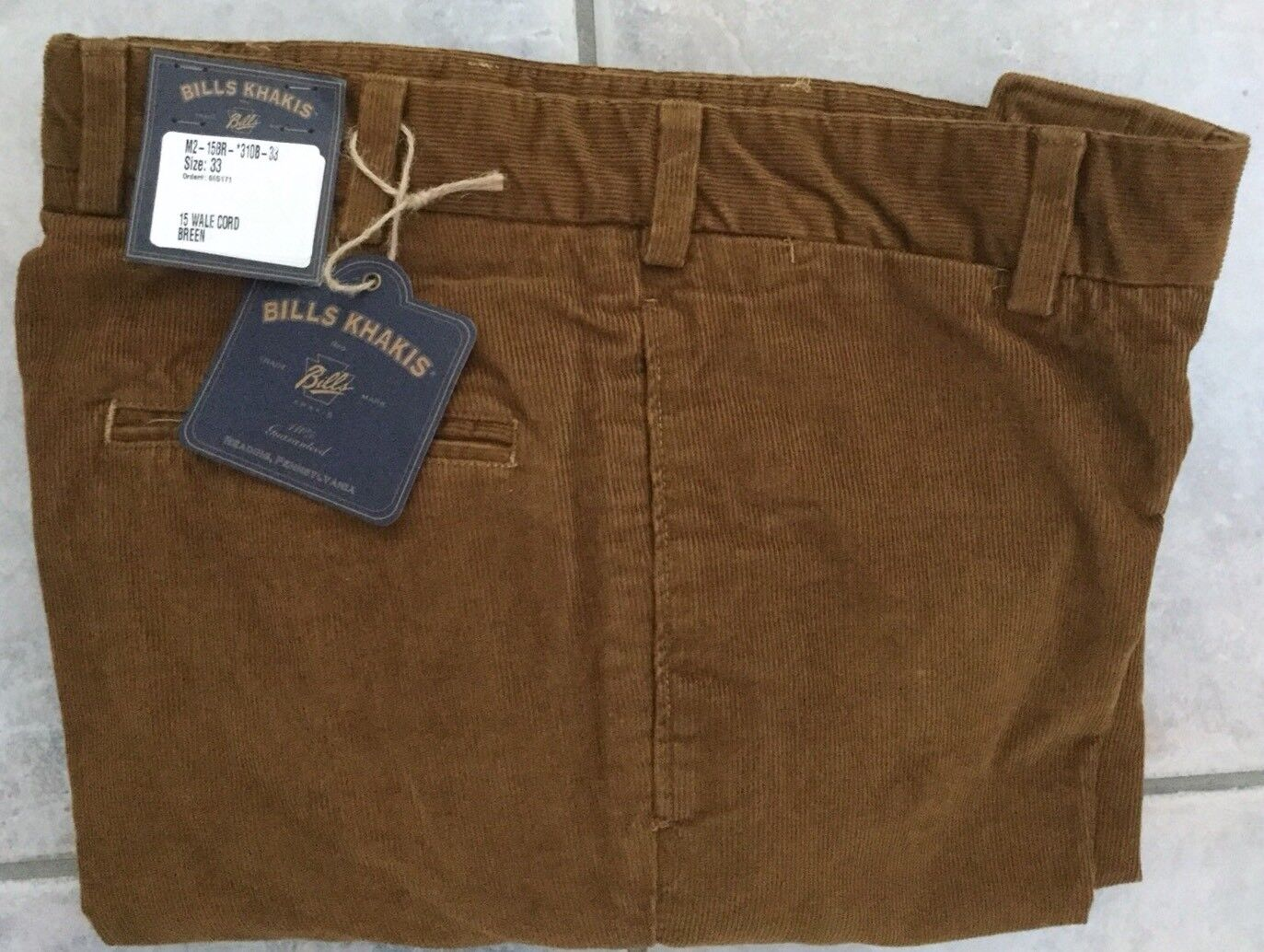 BRAND NEW-Bills khakis M2-15BR SZ 38X32 PLAIN FRONT 15 WALE CORD BREEN MSRP