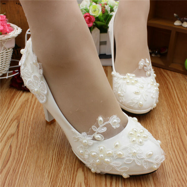Handmade Women Pearl White Lace LUKl Bridal Wedding Shoes High Heels #27153