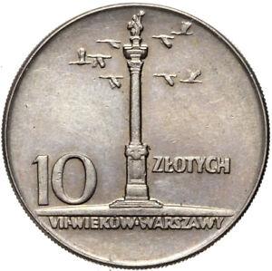 Polen-Gedenkmuenze-10-Zlotych-1965-700-Jahre-Warschau-Zygmunt-III-Saeule