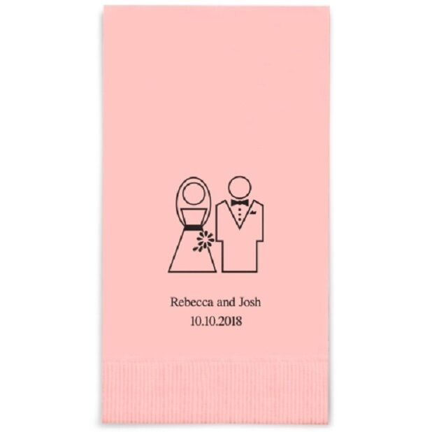 80 Stylized Bride and Groom Printed Rectangular Fold Wedding Wedding Wedding Dinner Napkins 39b08b