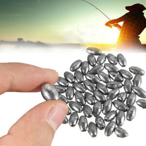 50PCS-pesca-Olivo-Forma-Rig-Sinkers-Angling-puro-plomo-peso-Split-Shot-0-2-8g